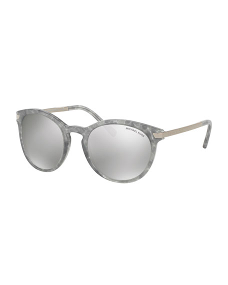 Rounded Square Mirrored Sunglasses, Gray