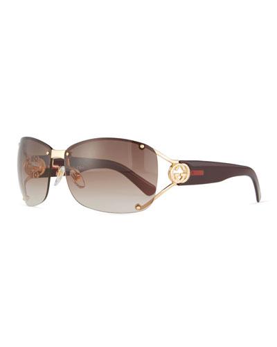 Rimless Gradient Square Sunglasses, Gold/Purple