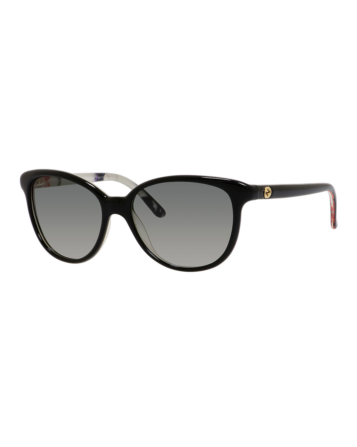 b2f68dc10d2 Gucci Sunsights Floral-Interior Oversized Cat-Eye Sunglasses