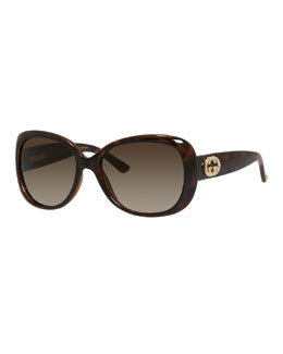 Rhinestone-Trim Oversized Butterfly Sunglasses, Havana