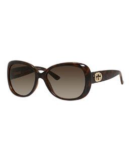 Rhinestone-Trim Oversized Butterfly Sunglasses, Havana
