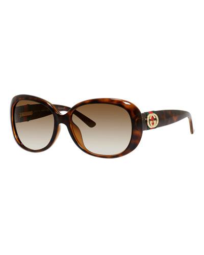 Gradient Butterfly Sunglasses, Havana