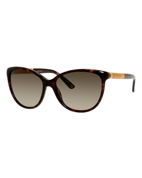 Gucci Sunsights Metal-Trim Diamantissima Cat-Eye Sunglasses, Black