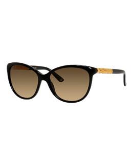 Metal-Trim Diamantissima Cat-Eye Sunglasses, Black