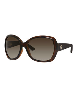 Oversized Diamantissima Square Sunglasses, Havana