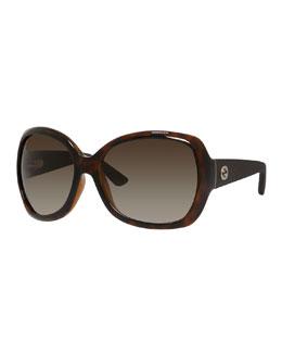 Oversized Diamantissima Square Sunglasses, Havana