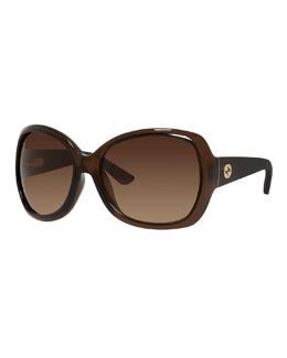 Oversized Diamantissima Square Sunglasses, Transparent Brown