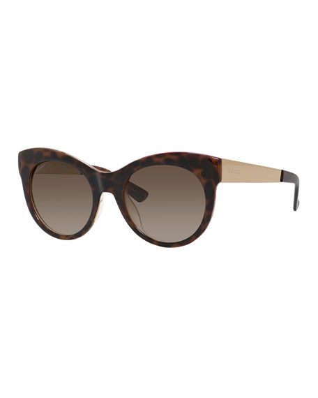 Gucci Sunsights Floral-Interior Cat-Eye Sunglasses, Brown