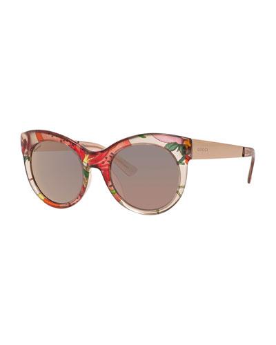 Transparent Floral Cat-Eye Sunglasses, Beige