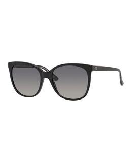Gradient Squared Cat-Eye Sunglasses, Black