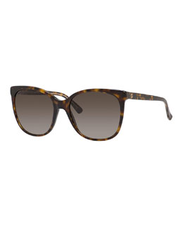 Gradient Squared Cat-Eye Sunglasses, Dark Havana