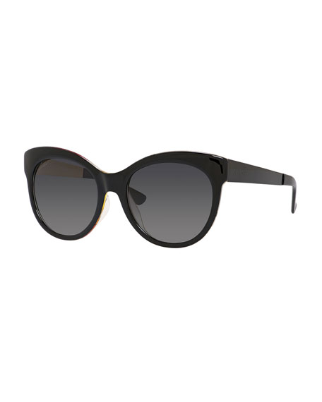 Gucci Sunsights Floral-Interior Gradient Butterfly Sunglasses, Black