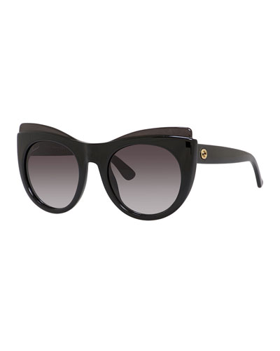 Capped Gradient Cat-Eye Sunglasses, Black
