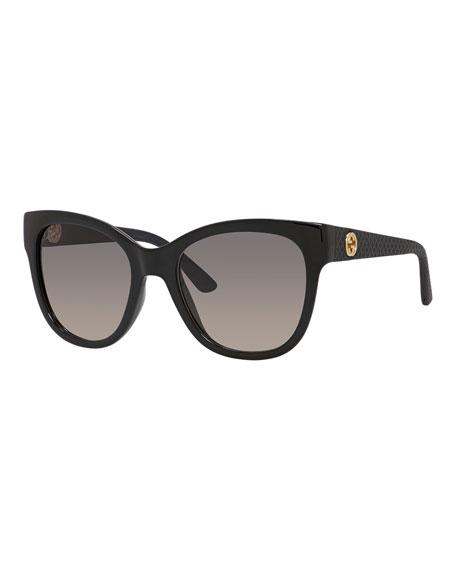 Gradient Diamantissima Cat-Eye Sunglasses, Black