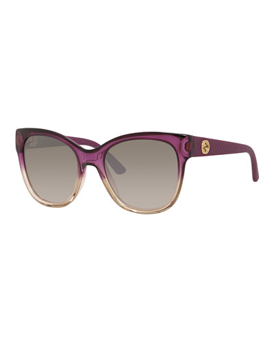 Ombre Diamantissima Cat-Eye Sunglasses, Fuchsia