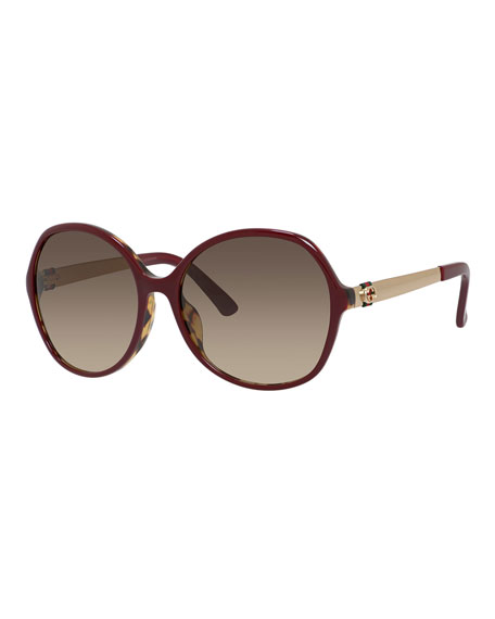Round Gradient Sunglasses, Burgundy/Gold