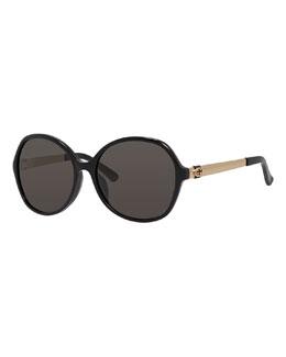 Round Monochromatic Sunglasses, Black