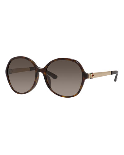 Round Gradient Sunglasses, Dark Havana
