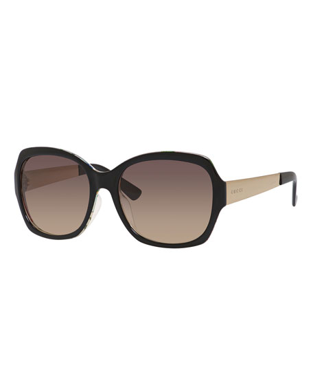 Floral-Interior Gradient Square Sunglasses, Black