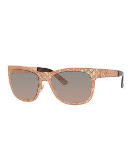 Stamped Square Gradient Sunglasses, Gold/Copper