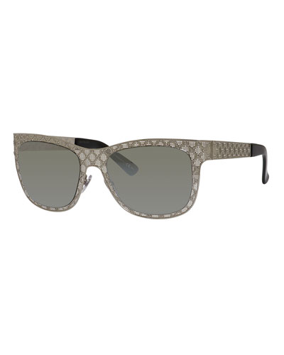 Stamped Square Monochromatic Sunglasses, Silver