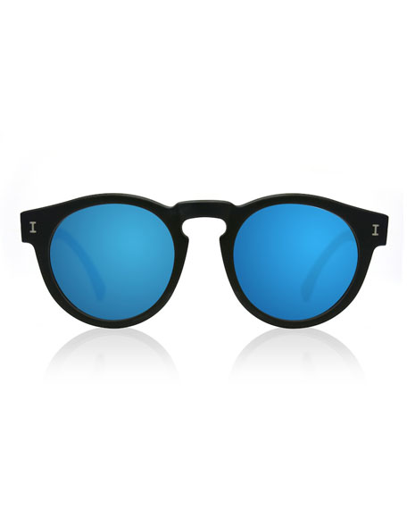 Leonard Round Mirrored Sunglasses, Black/Blue