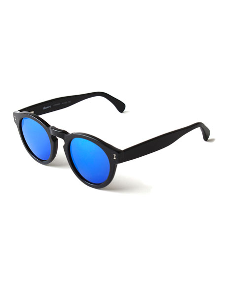 Leonard Round Mirrored Sunglasses, Black/Blue