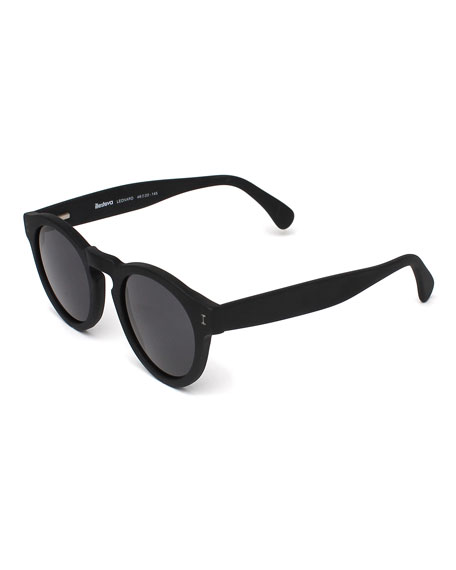 Leonard Round Monochromatic Sunglasses, Black