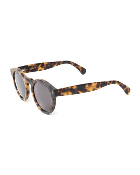 Leonard Round Monochromatic Sunglasses, Tortoise