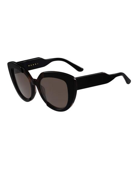 Prisma Two-Tone Cat-Eye Sunglasses, Black/Brown