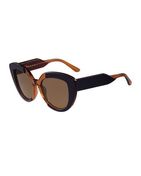 Prisma Two-Tone Cat-Eye Sunglasses, Blue/Orange