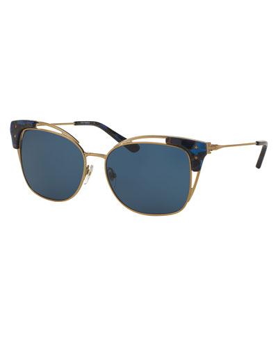 Oversized Open-Inset Cat-Eye Sunglasses, Gold/Blue
