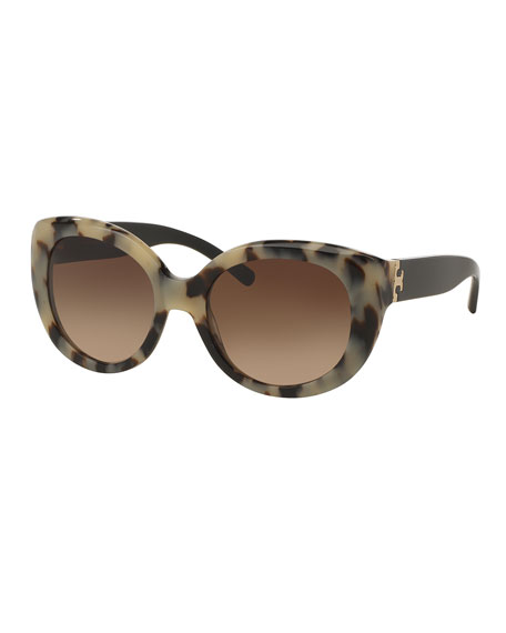 Chunky Gradient Butterfly Sunglasses, Black/White