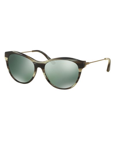 Curved Cat-Eye Sunglasses, Olive Horn
