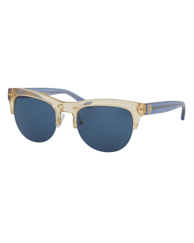 Square Semi-Rimless Monochromatic Sunglasses, Yellow/Blue