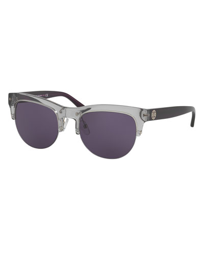 Square Semi-Rimless Monochromatic Sunglasses, Gray/Blue