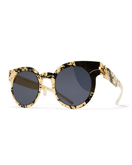 Transfer Rounded Square Sunglasses, Gold/Black