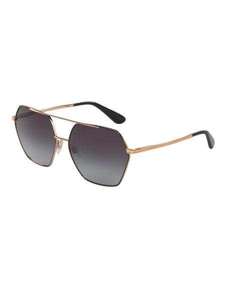 Hexagonal Aviator Sunglasses, Black/Gray