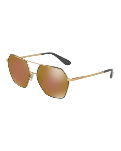 Hexagonal Aviator Sunglasses, Gray/Brown