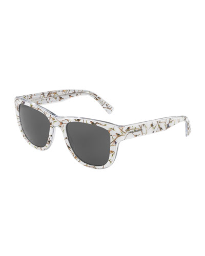 Square Monochromatic Bird-Print Sunglasses, White