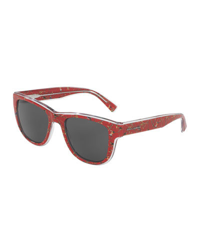 Square Monochromatic Bird-Print Sunglasses, Red
