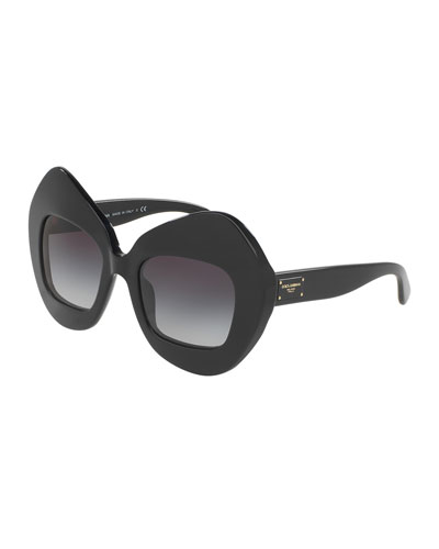 Exaggerated Cat-Eye Sunglasses, Black