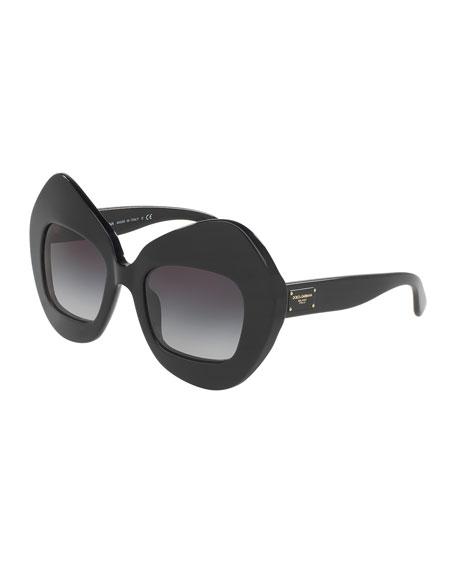 Dolce & Gabbana Exaggerated Cat-Eye Sunglasses, Black