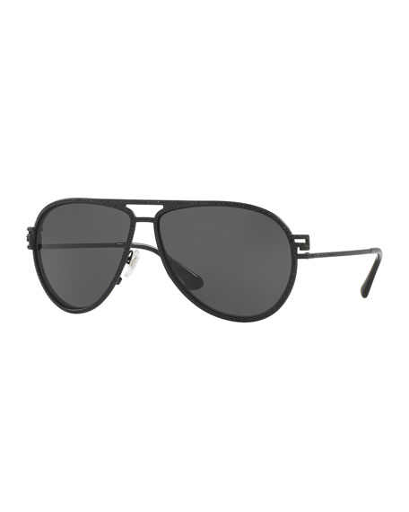 Versace Monochromatic Pavé Aviator Sunglasses, Black