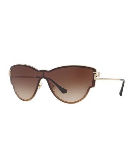 Versace Gradient Shield Cat-Eye Sunglasses, Brown