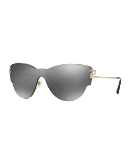 Versace Mirrored Shield Cat-Eye Sunglasses, Gray