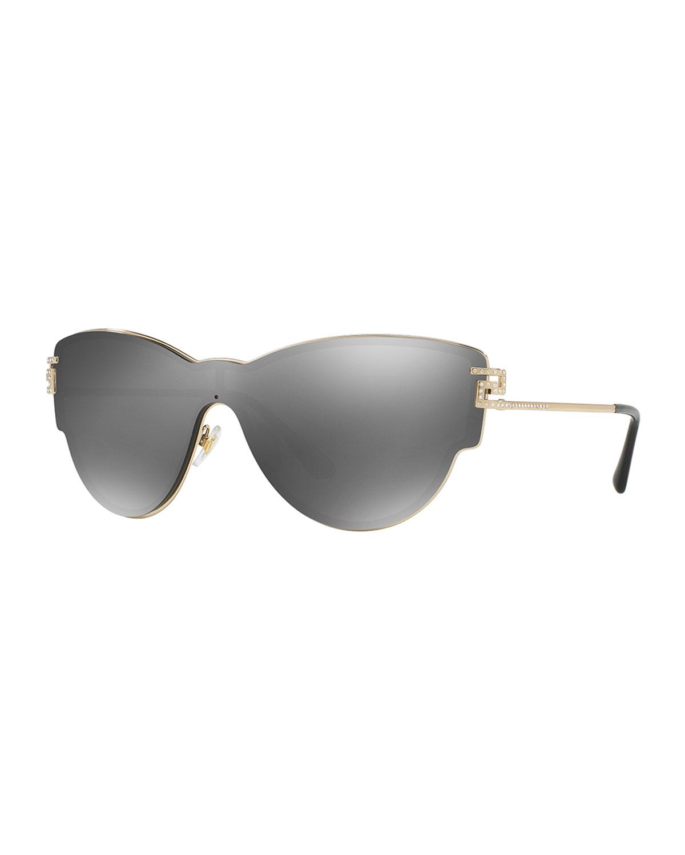 02b4e5186f Versace Mirrored Shield Cat-Eye Sunglasses