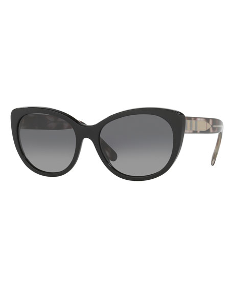 Burberry Check-Trim Polarized Cat-Eye Sunglasses, Black