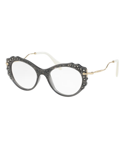 Embellished Butterfly Optical Frames, Gray