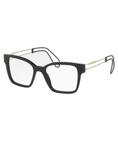 Open-Inset Square Optical Frames, Black